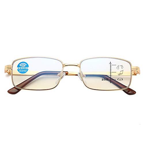 Anti-blauwe leesbril, Senioren lezen computer anti-vermoeidheid multifocale bril hars lens rechthoekige metalen glazen, mannen en vrouwen draagbare bril
