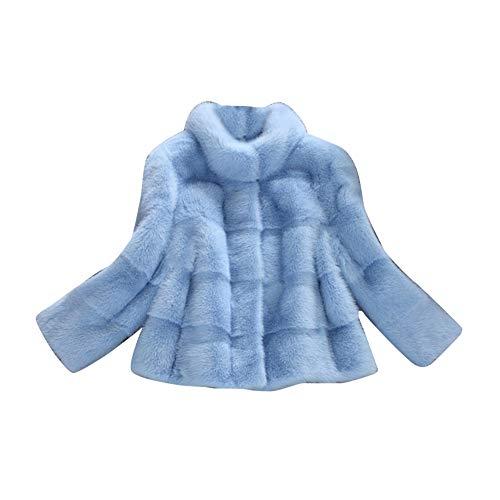 MISSMAOM Donna Caldo Faux Pelliccia di Volpe Cappotto Corto Blu M