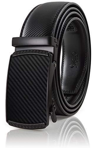 SIGLO Cinturón para Hombres de Piel con Hebilla Automática y Diseño sin Agujeros, Tamaños 30-44 —…
