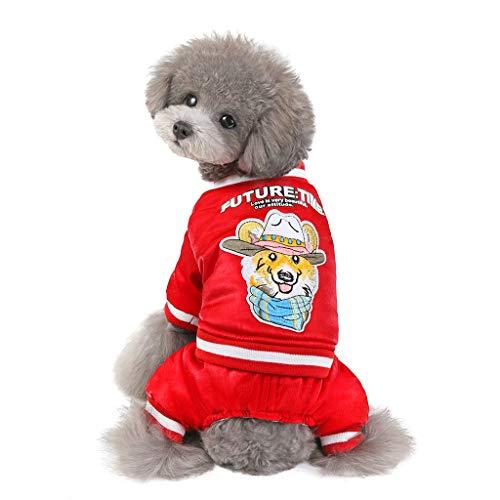 Yowablo Haustierhundekatze kleidet Freudenhundemantel (L,3- Rot)