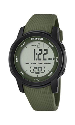 Calypso–Reloj Digital Unisex con LCD Pantalla Digital Dial y Correa de plástico Verde k5698/4