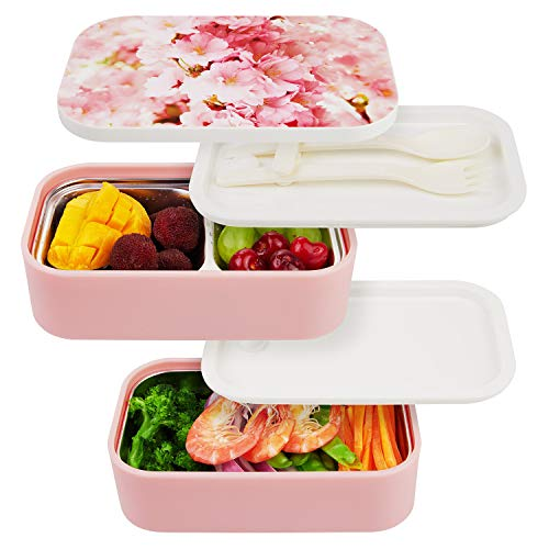 Thousanday Bento Lunch Box, Porta Pranzo in Acciaio Inossidabile Ermetico a 2 Scomparti e Posate(Forchetta e Cucchiaio) - Pasti A Casa/A Lavoro - Zero Waste