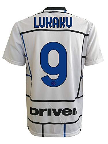 L.C. SPORT Segunda camiseta del Inter Romelu Lukaku 9, réplica autorizada 2020-2021, para niño (tallas 2, 4, 6, 8, 10, 12), adulto (S, M, L, XL), Nero Azzurro, 4-5 anni