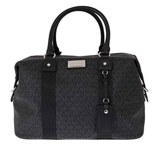 Made of Coated Canvas with leather trim and polished silver tone hardware Top zip closure. Wrapped leather handle with removable shoulder strap Exterior slip in pocket for boarding pass or cell phone Interior features 4 multifunction pockets, Zipper ...