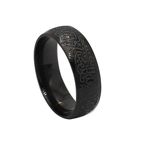 Fengteng Gravur Muslim Ring Schwarz Farbe islamisches Glaubensbekenntnis Ring Islam Allah Religiöse Fingerring Herren Ringe Kreative Geschenk (54 (17.2))