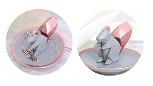 Hoocozi Small Size Round Resin Home Decorative Tray with a Squirrel Shaped Ring Holder from, 1Pcs, Grey, 3.9""