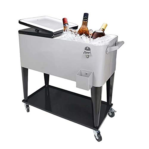 PetGirl Portable Rolling Cooler Ice Chest Cart Trolley for Outdoor Patio Deck Party Beer Cooler Cart Cover 80Quart Qt Rolling Cooler on Wheels Backyard Party Drink Beverage Bar Bottle Opener
