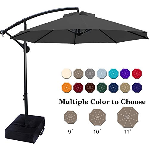ABCCANOPY Patio Umbrellas Cantilever Umbrella Offset Hanging Umbrellas 10 FT Outdoor Market Umbrella with Crank & Cross Base for Garden, Deck, Backyard, Pool and Beach, 12+ Colors, (Dark Gray)