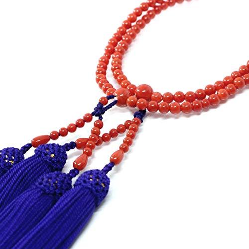 赤珊瑚 本連 数珠 女性用 数珠袋付 桐箱入 4.9mm玉 長さ 52cm 房は正絹 無染色さんご サンゴ念珠は結納、嫁入り道具に