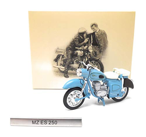 Atlas Motorrad Modell MZ ES 250 hellblau Modellmotorrad DDR 1:24 Standmodell