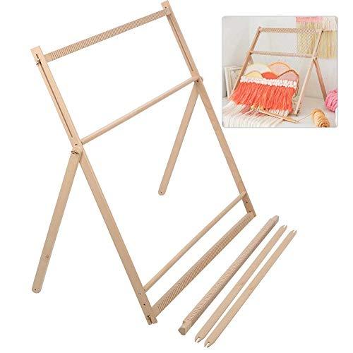 木製編み機、木製手織り編み機調節可能なブラケットタペストリーウール編みツールDIY親子活動初心者編