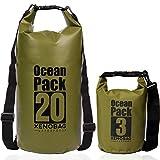 XENOBAG Wasserfeste Tasche 3 Liter o. 20 Liter/Dry Bag/Ocean Pack 3l o. 20l / wasserdichter Beutel/Drybag mit verstellbarem Schultergurt und Sicherheitsverschluss (Olivgrün, 20 Liter)