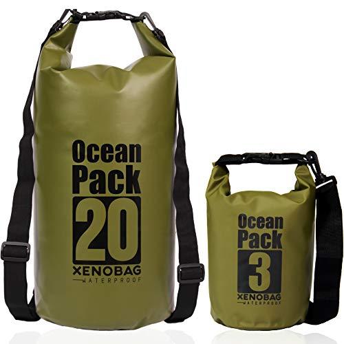 XENOBAG Wasserfeste Tasche 3 Liter o. 20 Liter/Dry Bag, klein/Ocean Pack 3l o. 20l / wasserdichter Beutel/Drybag mit verstellbaren Schultergurten und Sicherheitsverschluss (Olivgrün, 3 Liter)