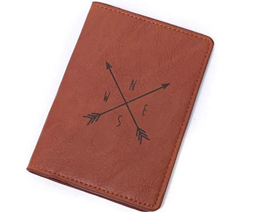 Funda Pasaporte Viajero Flechas brújula Color marrón Ideal para Regalar