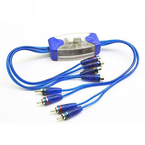 SODIAL Eliminador de Sonido de Linea aislador de Bucle de Tierra de Salida de Entrada RCA de 4 Canales Universal Adaptador de Filtro de Ruido para Audio de Coche