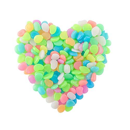ECHOAN 200 Stücke Leuchtende Kieselsteine, Fluoreszierende Steine, Leuchtsteine Bunt,Nachtleuchtende Steine, für Aquarium Garten Dekoration