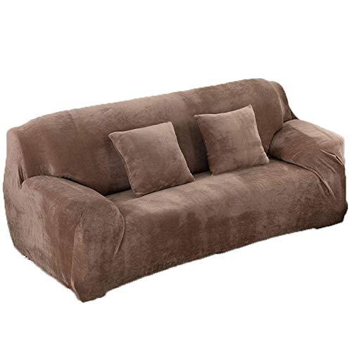 JBNJV Funda Universal para sofá, 1 Pieza, Funda para sofá, Funda para sofá 1234, Protector de Terciopelo elástico Grueso y Suave para Muebles para Sala de Estar, sofá, Camello