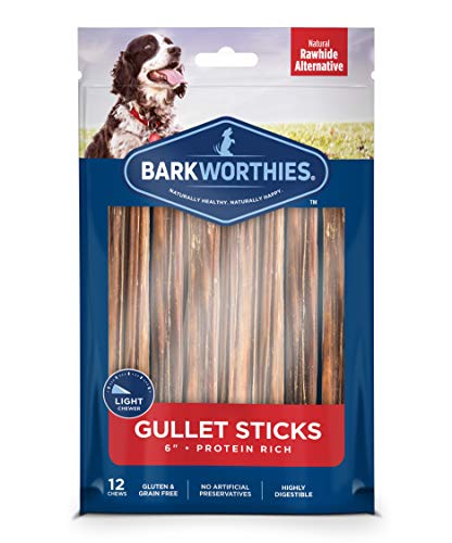 Barkworthies 6-inch Beef Gullet Sticks for Dogs (12 pk) - Healthy Dog Treats - Protein-Packed, Promotes Dental Health - Quick Hollow Dog Chew - Great for Older Dogs and Teething Puppies