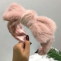 ファッションラムウールヘッドバンド女性ぬいぐるみウサギの耳ヘアフープ結びボウノットヘッドフープ女性の冬のヘアアクセサリーヘッドウェア-ピンク