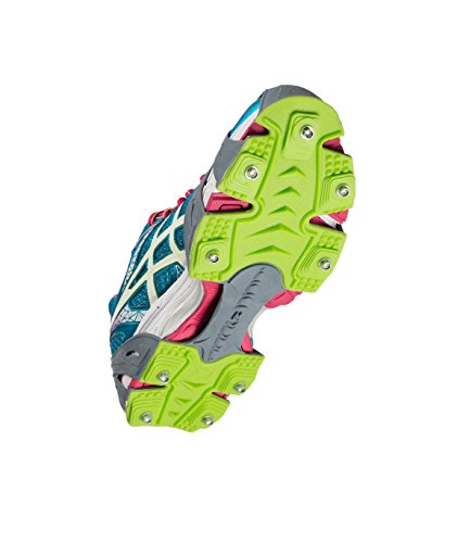 STABILicers Run Traction Cleats for Running on Snow and Ice, Grey/Green, Medium