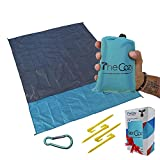 Waterproof Pocket Blanket, 70x55 in. – Sand & Dirt-Proof with Stakes, Carabiner, Case – Compact...