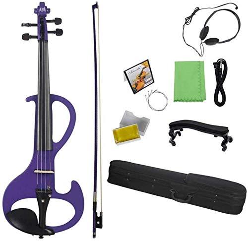 GAOTTINGSD Violine Leichte Violine, Holz elektronische stille Violine volle größe 4/4 mit Bug Ebenholzbeschläge tragen Fall Audiokabel Kopfhörer (Color : #2, Size : 4/4)