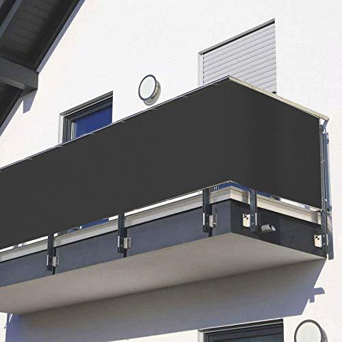 Privacidad de Balcón y Pantallas Protectoras, Balcón Revestimiento Protección Pantalla, con Cuerda de Nylon y Bridas para Jardín Balcón Terraza Piscina - Anthracite,70x800cm