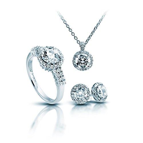 Damen-joyas Diamonfire collar + pendientes + anillo Classic 4 teiliges Set 925 plata rodiada con circonita Corte brillante blanco - 13/1269/1/917