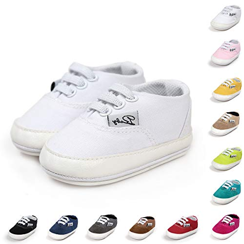 BENHERO Baby Boys Girls Canvas Toddler Sneaker Anti-Slip First Walkers Candy Shoes 0-24 Months 12 Colors(11cm,0-6 Months Infant, Aa/White