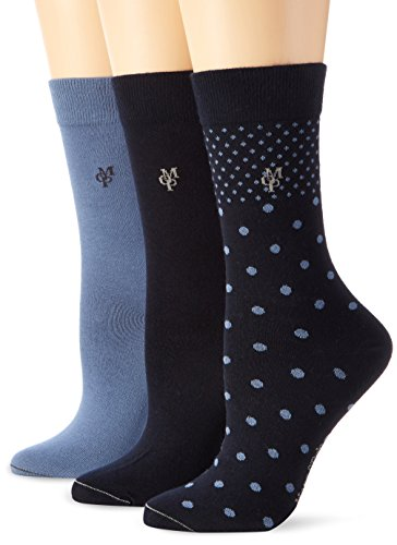 Marc O'Polo Body & Beach Damen Matt Fein Socken SOCKS WOMEN ( 3er Pack, Gr. 35/38 (Herstellergröße: 400), blue