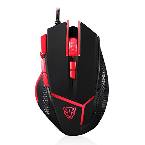 Motospeed Wired Mouse Gaming Mouse 4000DPI 9 Buttons Optical Game Mice with Weight Tuning Set Non-Slip Design with LED Light Fire/Sniper Button