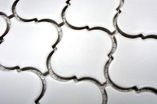 Handmuster Retro Vintage Mosaik Fliese Keramik Florentiner weiß matt MOS13-11WM_m