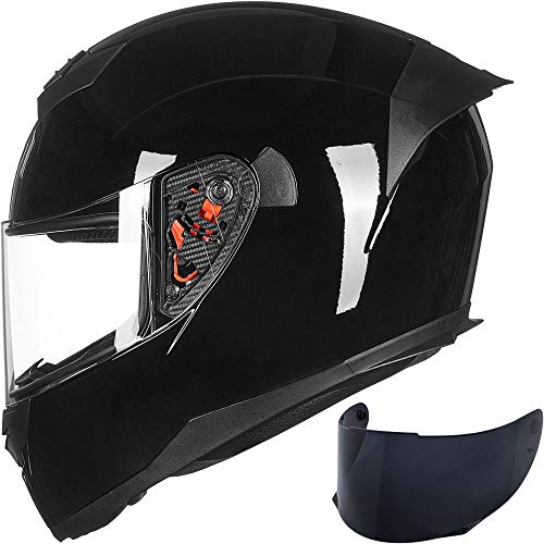 ILM Full Face Motorcycle Helmet for Motocross Street Bike DOT Certified (Gloss Black, XL)