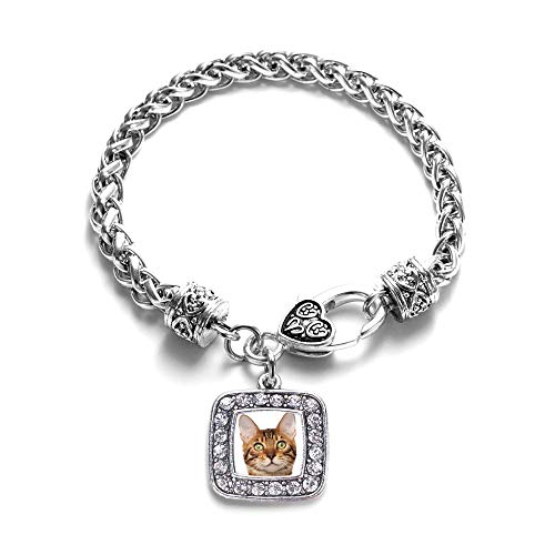 Inspired Silver - Bengal Cat Braided Bracelet for Women - Silver Square Charm Bracelet with Cubic Zirconia Jewelry
