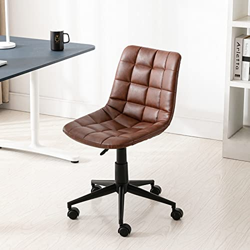 Wahson PU Leather Office Chair 360°Swivel Desk Chair Mid Back Height Adjustable,Armless Task Chair for Home Office (Brown)