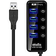 ATOLLA USB 3.0 4 Ports Super Speed USB Hub + 1 Charging Port with Switch (Black)