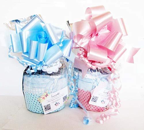 Mini-Tarta de Pañales con Chupete SUAVINEX   Personalizable con nombre bebé y Accesorios PREMIUM a Elegir   Baby Shower Gift Idea   Ideal para niñas o niños
