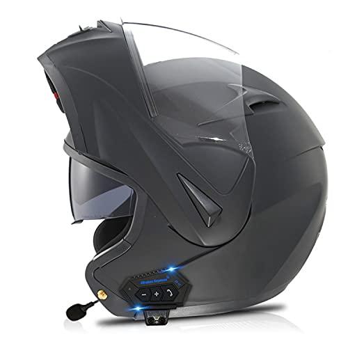 Casco da Moto Modulare Bluetooth con Doppia Visiera Casco Scooter Casco Integrato Flip-Up, Auricolare Bluetooth A Doppio Altoparlante con Microfono Risposta Automatica,Omologato ECE (Color:E,Size:S=5