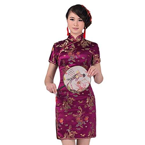 Hzjundasi Chino Tradicional Dragón Fénix Brocado Actuación Qipao Vestido Mujer Cheongsam Vestido de Noche