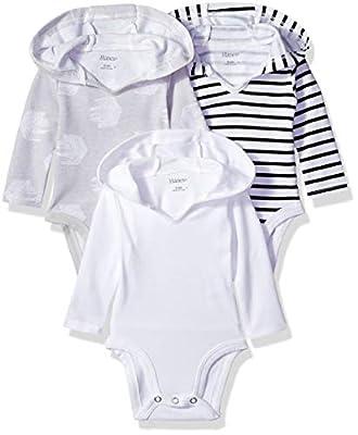 Hanes Ultimate Baby Flexy 3 Pack Hoodie Bodysuits, Black/Grey/White, 0-6 Months