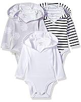 Hanes unisex baby Ultimate Flexy 3 Pack Hoodie Bodysuits Bodystocking, Black/Grey/White, 18-24 Months US