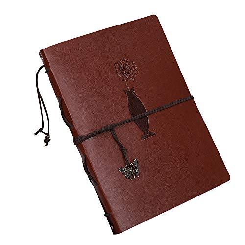 OUME Scrapbook Leather Photo Album Wedding Guest Book Diy Memories Book ROSE DESIGN(22X18CM) Brown
