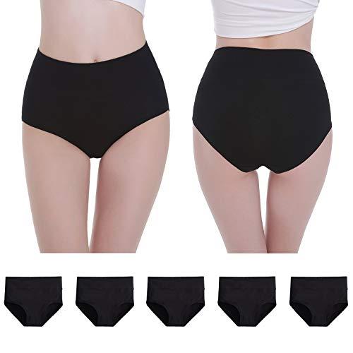 NUOZA Unterhosen Damen 5er Pack Unterwäsche Slip Pantys Mehrpack Baumwolle-Schwarz-M