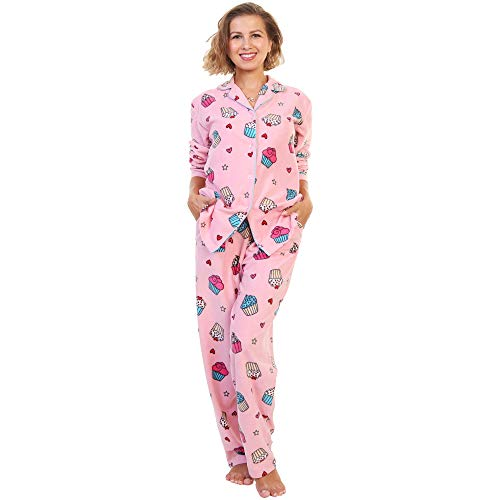 Angelina Womens Cozy Fleece Pink Pajama Set Cupcake Dessert Print, X-Large