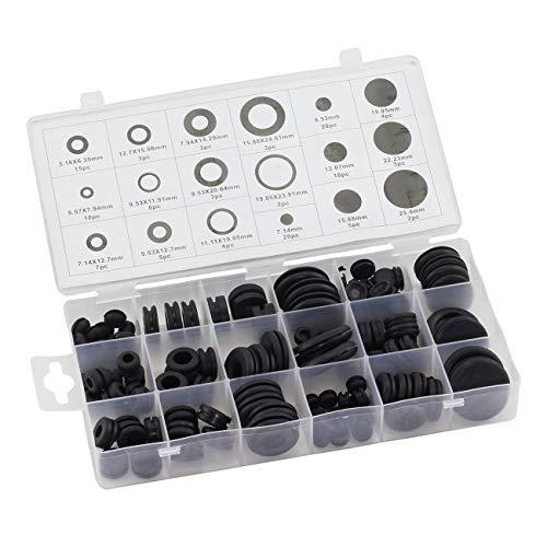 ZYAMY 125pcs Black Rubber O-Ring Gaskets 18 Sizes Sealing O Ring Assorted Kit Washer Assortment
