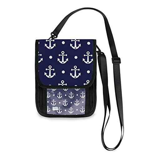 ALAZA Anchor And Polka Dot Navy Blue Small Crossbody Wallet Purse Cell Phone Bag Rfid Passport Holder with Credit Card Slots