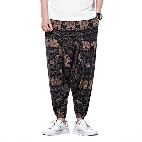 MISSMAOM_Fashion2019 Hombre Mujer Pantalones Harem Unisex Bombachos Ligeros, Hippies, de algodón, Casuales, Boho, Hechos a Mano para Yoga