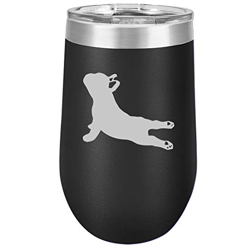 16 oz Double Wall Vacuum Insulated Stainless Steel Stemless Wine Tumbler Glass Coffee Travel Mug With Lid French Bulldog Yoga (Black)