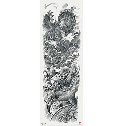 4 Stück 48X17CM Temporär Tätowierung Schwarz Tattoo Körperkunst,Extra Temporär Tätowierung,Klebe Tattoo Sticker,Fake Arm Tattoos Aufkleber Für Männer Frauen Tiertiger Kobold Drache Mythischer Charakt