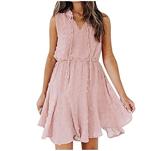 Jamicy Damen Lange Kleid Chiffon Rüschen mit Tief V-Ausschnitt Blumendruck Sommerkleid Cocktailkleid Partykleid Maxikleid Strandkleid Blusenkleid